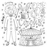 Hand dragen cirkussamling med clownen, ballongen, tältet och magisk kanin Sida för färgläggningbok för ungar Arkivfoto