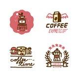 Hand dragen coffee shoplogouppsättning Stock Illustrationer
