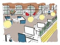 Hand dragen coworking klunga Modern kontorsinre, öppet utrymme workspace med datorer, bärbara datorer, belysning och stället stock illustrationer