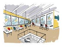 Hand dragen coworking klunga Modern kontorsinre, öppet utrymme workspace med datorer, bärbara datorer, belysning och stället royaltyfri illustrationer