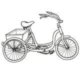 Hand-dragen cykel bakgrund isolerad white Arkivfoton