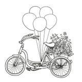 Hand-dragen cykel med blommor och ballonger bakgrund isolerad white Royaltyfria Foton