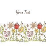Hand dragen dekorativ färgrik prydnadlinje med blommor och na Stock Illustrationer