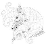 Hand dragen dekorativ häst för zentangle för vuxna färgläggningsidor, Arkivbild