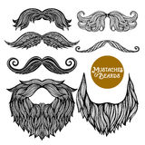 Hand dragen dekorativ skägg- och mustaschuppsättning royaltyfri illustrationer