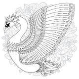 Hand dragen dekorerad svan Bild för vuxna färgläggningböcker, sida vektor illustrationer