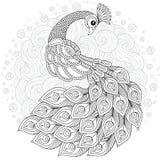 Hand dragen dekorerad svan Bild för vuxna färgläggningböcker, sida royaltyfri illustrationer