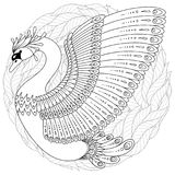 Hand dragen dekorerad svan Bild för vuxna färgläggningböcker, sida stock illustrationer
