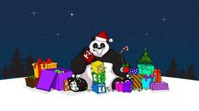 Hand dragen design av pandan som jultomten med kvarter, många gåvor, ny year& x27; s-träd och många andra garneringar Arkivbilder