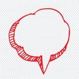 Hand dragen design för symbol för bubblaanförandeillustration arkivbild