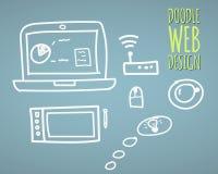 Hand dragen design för vektorillustrationwebsite vektor illustrationer