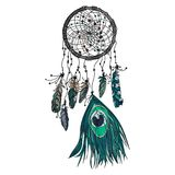 Hand dragen etnisk dreamcatcher vektor illustrationer