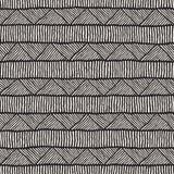 Hand dragen etnisk sömlös modell för stil Abstrakt geometrisk belägga med tegel bakgrund i svartvitt arkivbild