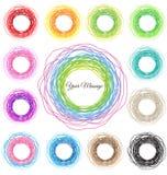 Hand dragen färgrik cirkelabstrakt begreppuppsättning vektor illustrationer