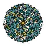 Hand dragen färgrik Mandala i kalla färger Arkivfoto