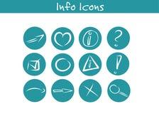Hand dragen för informationssymbol om affär uppsättning Vektor Illustrationer