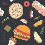 Hand-dragen ` för leverans för modell`-mat, stock illustrationer
