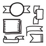 Hand dragen för vektorsymboler för baner fastställd illustration Royaltyfri Bild