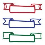 Hand dragen för vektorsymboler för baner fastställd illustration Arkivbilder