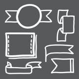 Hand dragen för vektorsymboler för baner fastställd illustration Arkivbild