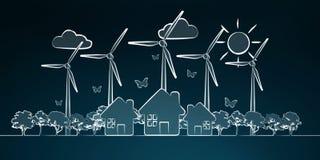 Hand-dragen förnybara energikällor skissar Arkivbild