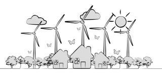 Hand-dragen förnybara energikällor skissar Arkivbilder