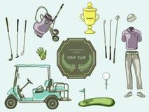 Hand dragen fastställd golfklubbsamling Royaltyfri Illustrationer