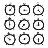 Hand dragen fastställd illustration för klockavektorsymboler Arkivfoto