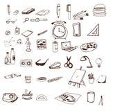 Hand dragen fastställd skolavektor för symboler Arkivbild