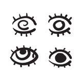 Hand dragen fastställd vektorillustration för ögon Fotografering för Bildbyråer