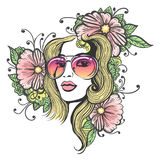 Hand dragen flickaframsida med blommor Fotografering för Bildbyråer