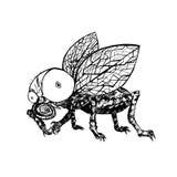 Hand dragen fluga Svartvit vektorillustration stock illustrationer