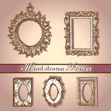 Hand dragen frames-2 stock illustrationer