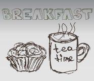 Hand dragen frukostillustrationvektor Arkivbild
