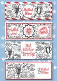 Hand dragen funderad uppsättning för vinvektorbaner Svartvitt skissa affischer med vinexponeringsglas Mallar för menykortdesign royaltyfri illustrationer