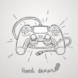 Hand dragen gamepad också vektor för coreldrawillustration Fotografering för Bildbyråer