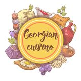 Hand dragen georgisk matmeny Georgia Traditional Cuisine med klimpen och Khinkali royaltyfri illustrationer