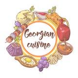 Hand dragen georgisk matmeny Georgia Traditional Cuisine med klimpen och Khinkali vektor illustrationer