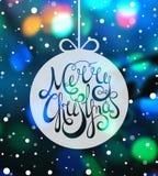 Hand dragen glad jul för calligraphic inskrift Arkivbild