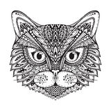 Hand dragen grafisk svartvit kattframsida för utsmyckat klotter vektor illustrationer