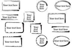Hand dragen grungeram med utrymme för text Färgpulversudd Arkivbild