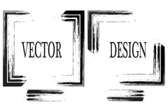 Hand dragen grungeram med utrymme för text Färgpulversudd Grungeborsteslaglängd Vektorborsteslaglängd Texturerat modernt stock illustrationer