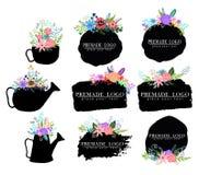 Hand dragen gullig blom- logomall Royaltyfri Illustrationer