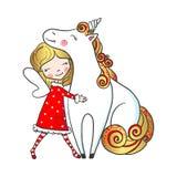 Hand dragen gullig felik flicka som kramar enhörningen stock illustrationer