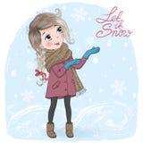 Hand dragen härlig gullig liten vinterflicka på bakgrund med den inskriftHello vintern royaltyfri illustrationer
