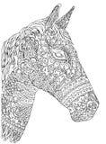 Hand-dragen häst för vektor illustration på vit bakgrund Arkivbilder
