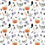Hand dragen halloween ljus sömlös modell stock illustrationer