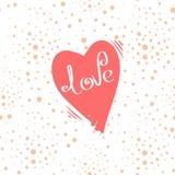 Hand-dragen hjärta med inskriften, vykortvalentin dag Arkivfoton