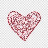 Hand dragen hjärta på genomskinlig bakgrund Arkivfoton