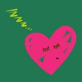 Hand dragen hjärta som sover vektorillustrationen Fotografering för Bildbyråer